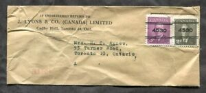 p940s - TORONTO 1950s Precancels on Sample Envelope/Cover - J. Lyons Co ✉