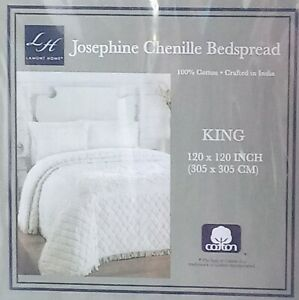 "Chenille Bedspread King Cotton Fringe Ivory Lamont Home Josephine 120"" x 120"""