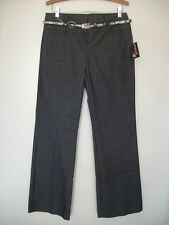 """Juniors Low Rise 32"""" Inseam Cotton New Casual Pinstripes Gray Wide Leg Pants 11"""