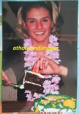 Real Photo of Pretty Blonde Hair Woman Cutting/Serving Up Birthday Cake 1203