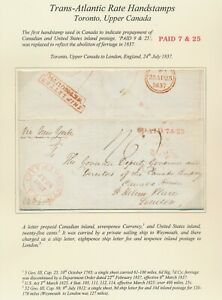 1837 CANADA COVER TO GB STUNNING CITY TORONTO CDS PAID 7+25 SHIP LETTER WEYMOUTH
