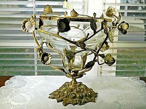 Crystal Etchd Bowl cradled n Brass Metal Flower & Vine Frame w stand MCM design