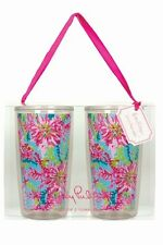 LILLY PULITZER Insulated Tumbler Set of 2 TRIPPIN AND SIPPIN Drink Glass 16 oz N