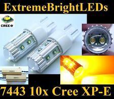 TWO AMBER 50W 10x Cree XP-E 7440 7443 LED Turn Signal Lights + Load Resistors