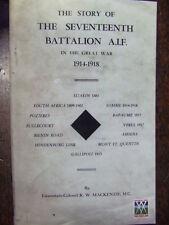 17th BATTALION AIF WW1 AUSTRALIAN ARMY MILITARY HISTORY BOOK ANZAC GALLIPOLI