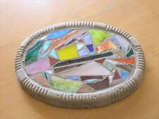 Vintage Colorful Stained Slag Art Glass Inlaid Cement Panel Trivet Door Stop