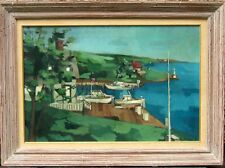 1960 Oil Painting Seascape w/ Dock & Boats signed D. Duder