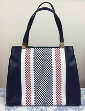TOMMY HILFIGER New Basketweave Hinge Tote Bag Navy Blue White Red