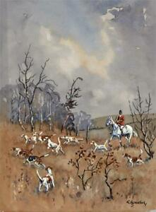GEORGE A. JOHNSON (1865-1934) Watercolour Painting HUNTING SCENE - 20TH CENTURY