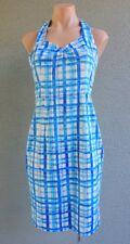 Women REVIEW Summer Sheath Cotton Blue Plaid Dress Size S Buy7=FreePost L355