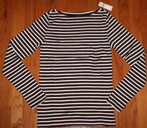 NEW NWT Womens GAP Long Sleeve Boatneck T-Shirt FAVORITE Tee Burgundy Stripe *F4
