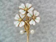 ANTIQUE ART NOVUEAU 14K GOLD ENAMEL DOGWOOD FLOWER STICK PIN w SEED PEARLS