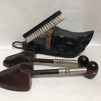 Art of Spain Lobeco Lot Handcrafted Shoe Shine Brush Holder+Brush Dark wood