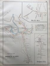 ORIG 1893 J.L. SMITH, MONTGOMERY COUNTY, PA, GREEN-LANE BOROUGH, PLAT ATLAS MAP