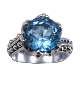 925 sterling silver Jewelry sky blue topaz gemstone gold dots ring size 7