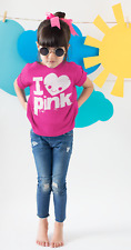 Dirty Fingers Girl's T-Shirt, I Love Heart Pink, Cute Birthday Funny Cool Gift