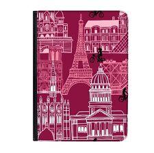 """Paris Eiffel Tower France Universal 7"""" Leather Flip Case Cover"""