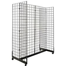 Display Grid Rack 4 Panels Rolling Metal Retail Wall Store Craft Show Art Stand