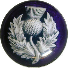 """Crystal Dome Button Scottish Royal Purple Thistle  Lg Size 1 & 3/8""""  # 01"""
