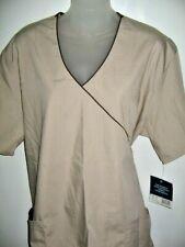 Adar Scrubs Uniform Beige Faux Wrap XXL 20 Short Slve Top 2 Pockets Bust 128cm