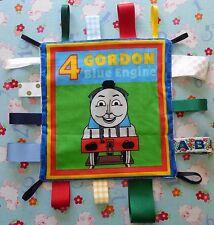 New Gordon Blue Engine Train Taggy Taggie Autism comforter Sensory Blanket .