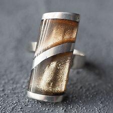 Neu RING CAPIZ MUSCHEL Farbe metallics/braun/silber GRÖßENVERSTELLBAR Fingerring