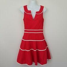 eShakti Red White Sailor Pin-Up Fit & Flare Sleeveless Dress Pockets Size XS/2