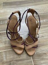 Gianmarco Lorenzi Woman Sandals Size 7, Beige & Purple Leather, Italian Shoes