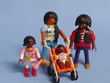 Playmobil étnicos piel oscura familia Mamá Papá Niño Baby Buggy + nuevo parque de casa