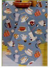 Coffee Latte Cups Mug Vinyl Tablecloth Oblong 60 x 84 Seats 6-8 Flannel Back NIP