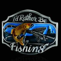Mens Fishing Pattern Cowboy Western Vintage Fashion Alloy Metal Belt Buckle NEW