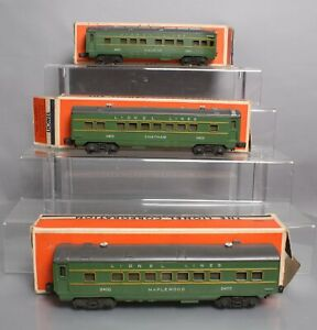 Lionel 2400S Vintage O Green/Gray Passenger Car Set: 2400, 2401, 2402