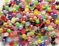 6 mm 250 Pearls Mixed Colours  Flat Back Half Round Resin Pearls Scrapbook Craft