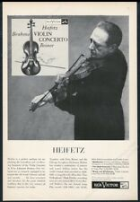1956 Jascha Heifetz photo playing violin Rca Victor Records vintage print ad