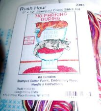 "Design Works Rush Hour No Parking Cats Stamped Cross Stitch 9"" x 12"""
