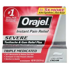 Orajel Severe Triple Medicated Toothache Gum Relief Cream .33 oz Exp 6/2018