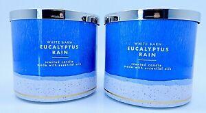2 BATH & BODY WORKS WHITE BARN EUCALYPTUS RAIN SCENTED CANDLE LARGE 3 WICK 14.5
