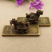 China Folk Fengshui Old Brass Carved Dragon tortoise Statue Pair paper weight