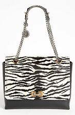 LANVIN Black Zebra Printed Pony Hair And Leather Medium Happy Shoulder Bag $2650