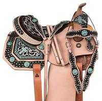 Y&Z Enterprises Western Premium Leather Horse Saddle (Embroidered) 14-18 Seat