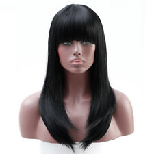 Long Black Straight Neat bang Hair Cosplay Party Womens Full Wigs Heat Resistent