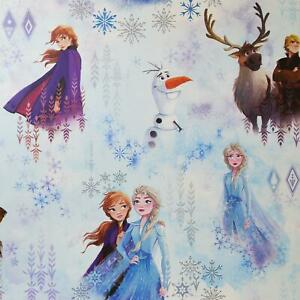 Kids Disney Frozen Wallpaper Anna Elsa Olaf Snow Ice Blue Teal Sven Kristoff