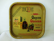"Vintage Advertising Tin Tray Queen Of Queens Rare Blended Malt Whisky Genuine""F"
