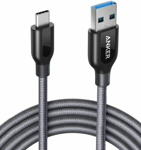 Anker PowerLine+ 6ft Nylon Charger Cable USB-C to USB 3.0 Samsung Charging, GRAY