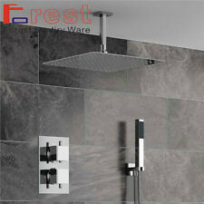 "Thermostatic Mixer Shower Valve 16""stainless steel Rain Shower Head Faucet Set"