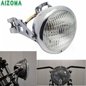 6'' Motorcycle Smooth Bezel Headlight With Bracket For Cafe Racer Honda Suzuki