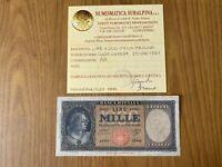 REPUBBLICA ITALIANA BANCONOTA Lire 1000 ITALIA MEDUSA 1961 certificata BB