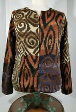 Peruvian Connection 100% Alpaca Zip Tribal Cardigan Sweater Women's Size Medium