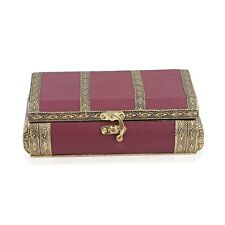 Burgundy Faux Leather Oxidized Jewelry Organizer Box Storage Scratch Protection