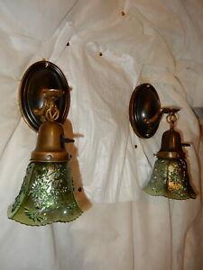 Art Nouveau Brass Sconces Green Carnival Art Glass Shades